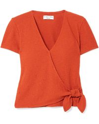 Madewell - Miller Textured Stretch-cotton Wrap Top - Lyst