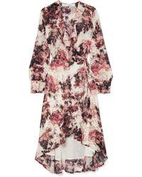 IRO - Ruffle-trimmed Floral-print Georgette Wrap Dress - Lyst
