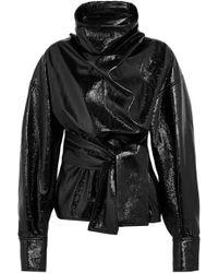 Wanda Nylon - Belted Textured-vinyl Blouse - Lyst