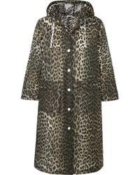 Ganni - Leopard-print Matte-pu Coat - Lyst