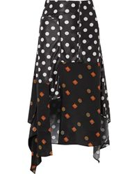 J.W.Anderson - Asymmetric Printed Jersey And Silk-crepe Midi Skirt - Lyst