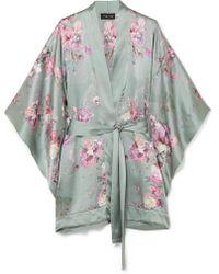 Meng - Exclusive Floral-print Silk-satin Kimono - Lyst