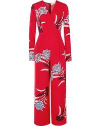 Diane von Furstenberg - Wrap-effect Floral-print Crepe Jumpsuit - Lyst