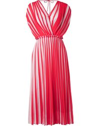 TOME - Wrap-effect Pleated Striped Georgette Midi Dress - Lyst