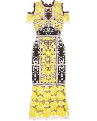 Marchesa notte - Cold-shoulder Embroidered Guipure Lace Midi Dress - Lyst