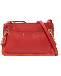 Chloé - Roy Mini Leather And Suede Shoulder Bag - Lyst