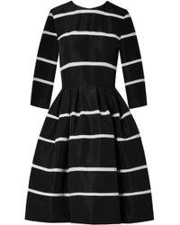 Carolina Herrera - Crochet-trimmed Pleated Silk-faille Dress - Lyst