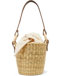 Muuñ - Polo Straw And Printed Cotton-canvas Tote - Lyst