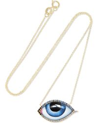 Lito - Grand Bleu 14-karat Gold, Enamel, Sapphire And Diamond Necklace Gold One Size - Lyst