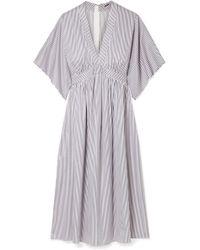 Adam Lippes - Striped Cotton-jacquard Dress - Lyst