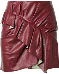 Étoile Isabel Marant - Zeist Ruffled Faux Textured-leather Mini Skirt Red Fr36 - Lyst