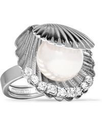 Miu Miu - Silver-tone Faux Pearl And Crystal Ring - Lyst