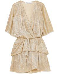 IRO - Mini-robe En Lamé À Volants - Lyst