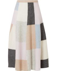 Adam Lippes - Color-block Brushed Cashmere And Silk-blend Midi Skirt - Lyst