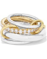 Spinelli Kilcollin - Set Of Four Sterling Silver, 18-karat Gold And Diamond Rings Silver 8 - Lyst