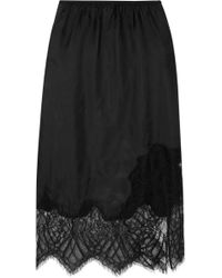 Helmut Lang - Lace-trimmed Satin Midi Skirt - Lyst
