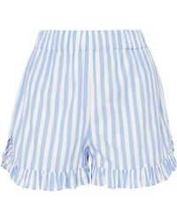 Ganni - Swimton Ruffled Striped Cotton Shorts - Lyst
