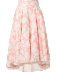 Miguelina - Jackie Floral-print Linen Midi Skirt - Lyst