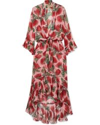 Adriana Degreas - Fiore Ruffled Tie-detailed Floral-print Silk-chiffon Dress - Lyst
