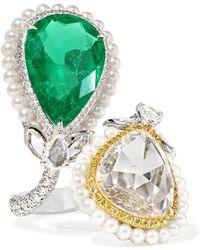 Amrapali - 18-karat Gold And Platinum Multi-stone Ring - Lyst