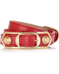 Balenciaga - Holiday Collection Triple Tour Textured-leather And Gold-tone Bracelet - Lyst