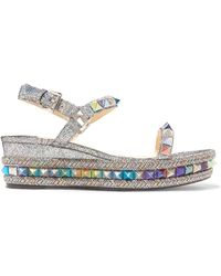 2a0a49ea1ef3 Christian Louboutin - Pyraclou 60 Spiked Metallic Cracked-leather Wedge  Sandals - Lyst