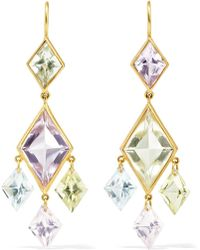 Marie-hélène De Taillac - 22-karat Gold, Quartz And Aquamarine Earrings - Lyst