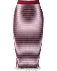 KENZO - Striped Ribbed Stretch Cotton-blend Midi Skirt - Lyst