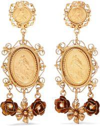 Dolce   Gabbana - Gold-tone Faux Pearl Clip Earrings - Lyst 40ee7a36ca4