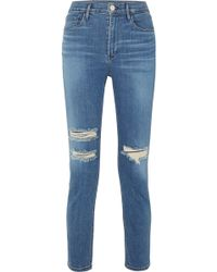 3x1 - W4 Colette Cropped Distressed High-rise Slim-leg Jeans - Lyst
