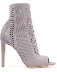 Gianvito Rossi - Vires 105 Peep-toe Perforated Stretch-knit Ankle Boots - Lyst