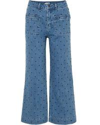 Ulla Johnson Niko Embroidered Polka-dot High-rise Flared Jeans