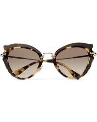 Miu Miu - Cat-eye Canvas-trimmed Acetate And Gold-tone Sunglasses - Lyst