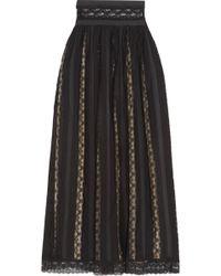 Balmain - Lace And Chiffon Maxi Skirt - Lyst