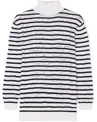 Chloé - Striped Cotton-blend Lace Turtleneck Sweater - Lyst