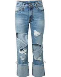 R13 - Bowie Cropped Distressed Mid-rise Straight-leg Jeans - Lyst