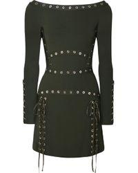 Elie Saab - Eyelet-embellished Stretch-knit Mini Dress - Lyst