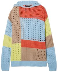 House of Holland - Hooded Patchwork Merino Wool-blend Sweater - Lyst