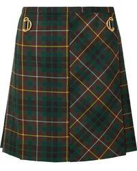 9932e1256d Balmain Frayed Checked Metallic Tweed Mini Skirt in Blue - Lyst