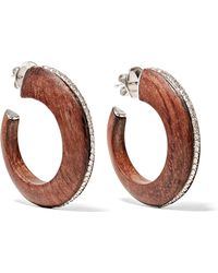 Fred Leighton - Collection 18-karat White Gold, Palisander Wood And Diamond Hoop Earrings - Lyst