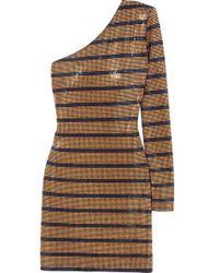 25036800 Balmain - One-shoulder Crystal-embellished Georgette Mini Dress - Lyst