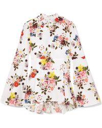 Erdem - Miriam Floral-print Cotton-poplin Peplum Top - Lyst