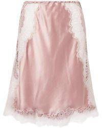 Carine Gilson - Chantilly Lace-trimmed Silk-satin Slip Skirt - Lyst