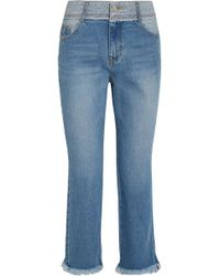 SJYP - Cropped Distressed Mid-rise Flared Jeans - Lyst