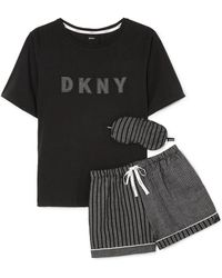 DKNY - Appliquéd Striped Jersey Pyjama And Eyemask Set - Lyst