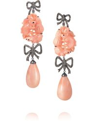 Lydia Courteille - 18-karat Blackened White Gold, Diamond And Coral Earrings - Lyst