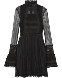 Jonathan Simkhai - Crochet-trimmed Tulle And Lace Mini Dress - Lyst