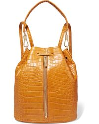 Elizabeth and James - Cynnie Sling Convertible Croc-effect Leather Backpack - Lyst
