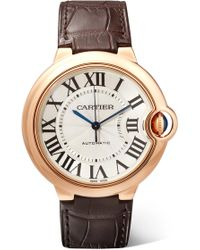 Cartier - Ballon Bleu De 36mm 18-karat Pink Gold And Alligator Watch - Lyst
