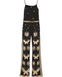 Diane von Furstenberg - - Taliya Embroidered Tulle Jumpsuit - Black - Lyst